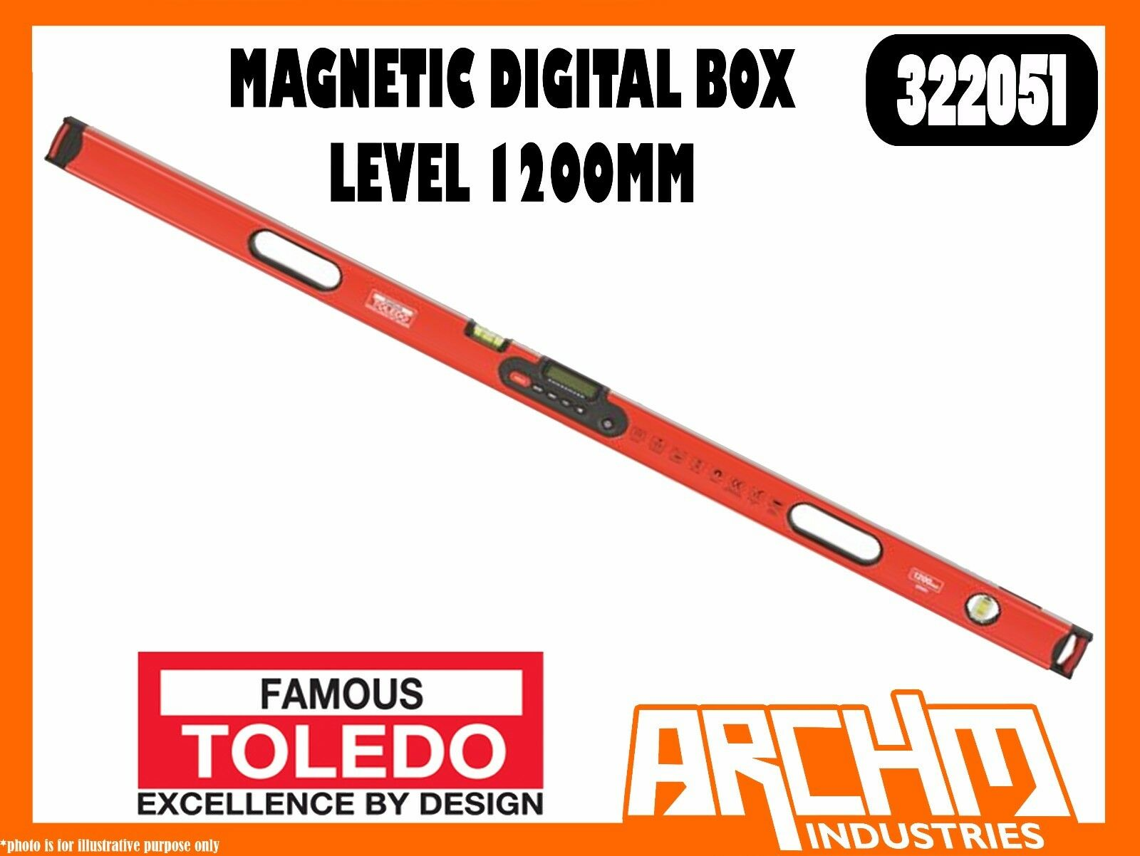 TOLEDO 322051 - MAGNETIC DIGITAL BOX LEVEL - 1200MM - ACCURATE ANGLE MEASUREMENT