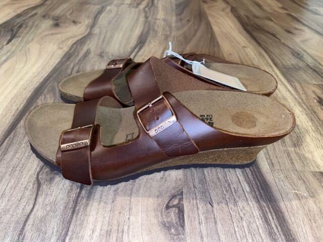 NWT Birkenstock Papillio Women Emina Wedge Brown Slide Sandal Shoe Size 10 New