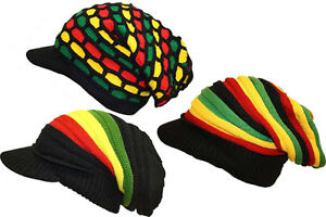 d3cc78ad8 Details about Rasta Knitted Oversized Slouch Peak Visor Beanie Cap Hat  Mosaic Striped Unisex