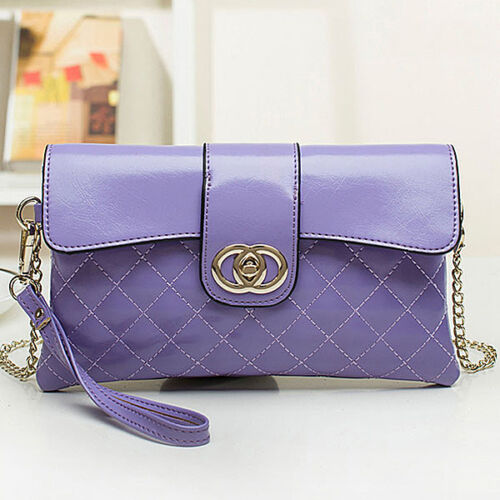 Genuine leather quilted clutch.wristlet.shoulderbag for women