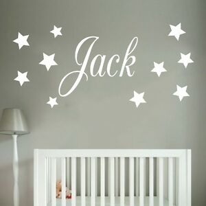 Image Is Loading Baby Boys Wall Sticker Personalised Stars Child Name