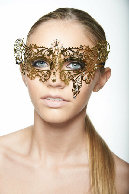 Gold Metal Filigree Venetian Masquerade Party Ball Women's Mask w/Rhinestones