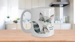Raccoon I LOVE YOU Cute Coffee Cup Gift Adorable Watercolor Print Animal