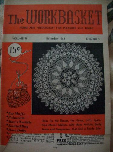 December 1952 Workbasket Knit Crochet Tat Pattern Magazine Doily Earmuffs Rug