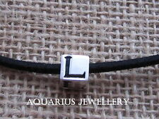 """SOLID GENUINE STERLING SILVER LETTER """"L"""" CHARM BRACELET CUBE BEAD FREE GIFT BOX"""