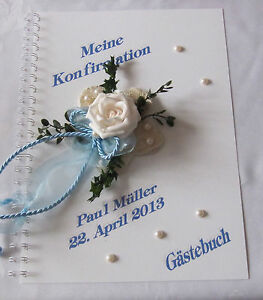 Gaestebuch-Konfirmation-Kommunion-Firmung-Taufe-Geschenk-Karte-Blumen-Rose-blau