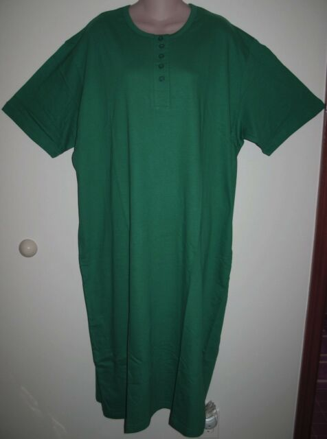 HUNTER GREEN  HENLEY LONG COTTON NIGHTSHIRT O/S FITS S-XLGE