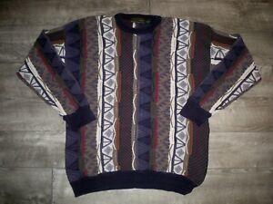 Vintage-Croft-amp-Barrow-Pullover-90s-Biggie-Hip-Hop-Pullover-grosse-strukturiert-3d-Herren