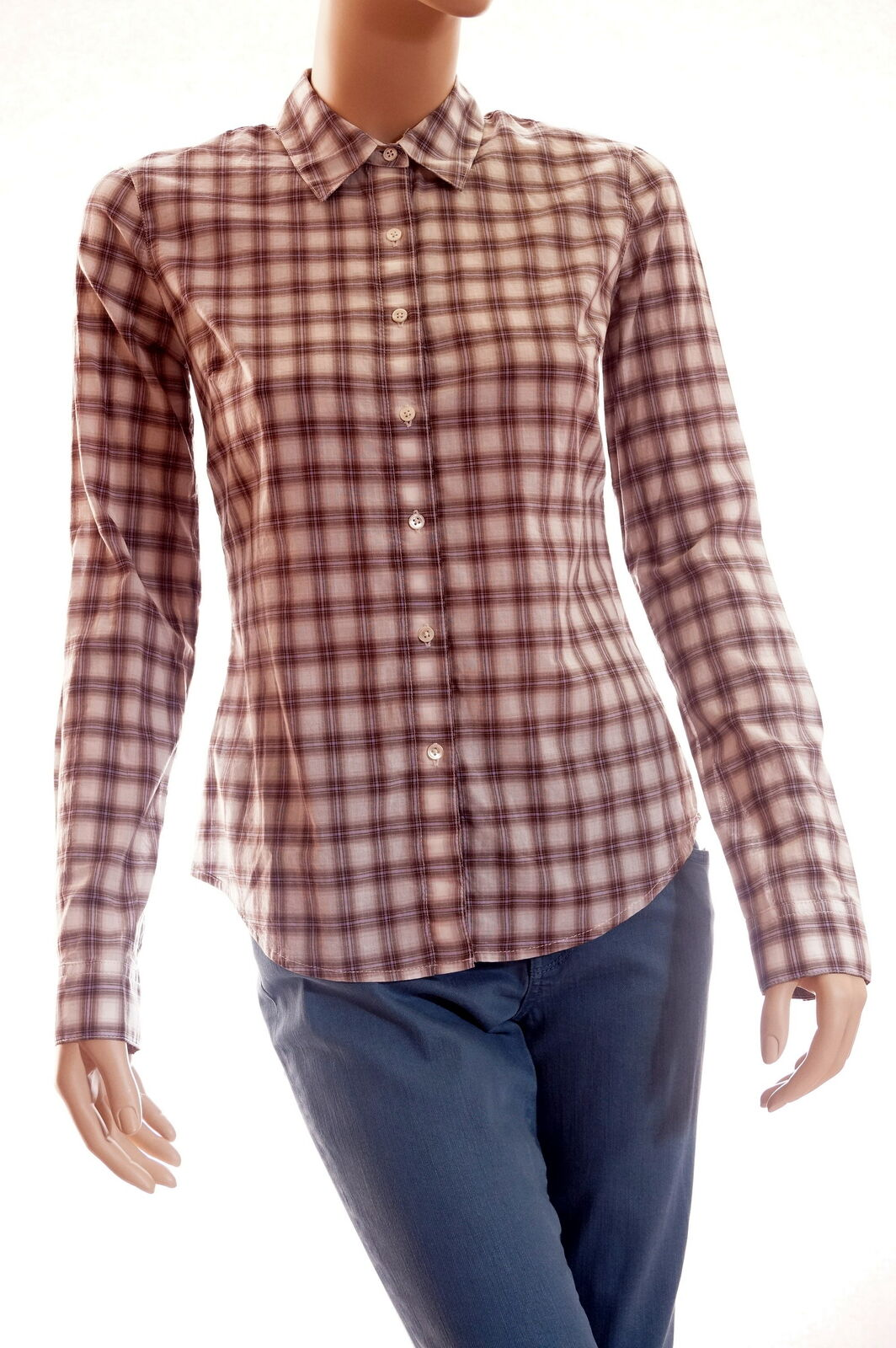 JAMES PERSE Womens Quarts Beige Brown Long Sleeve Plaid Button Down Shirt Top 2