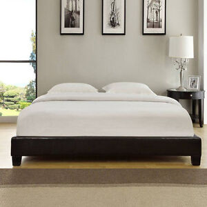 Faux Leather Modern Low Profile Sleek Platform Bed Frame Wood Slat