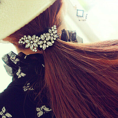 Vintage Women Lady Rhinestone Flower Crystal Headband Hair Clip Pin Comb Jewelry