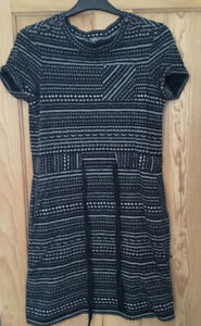 NW3 Hobbs Navy Blue & Cream Patterned Rollled Sleeve Belted Dress Sz 8