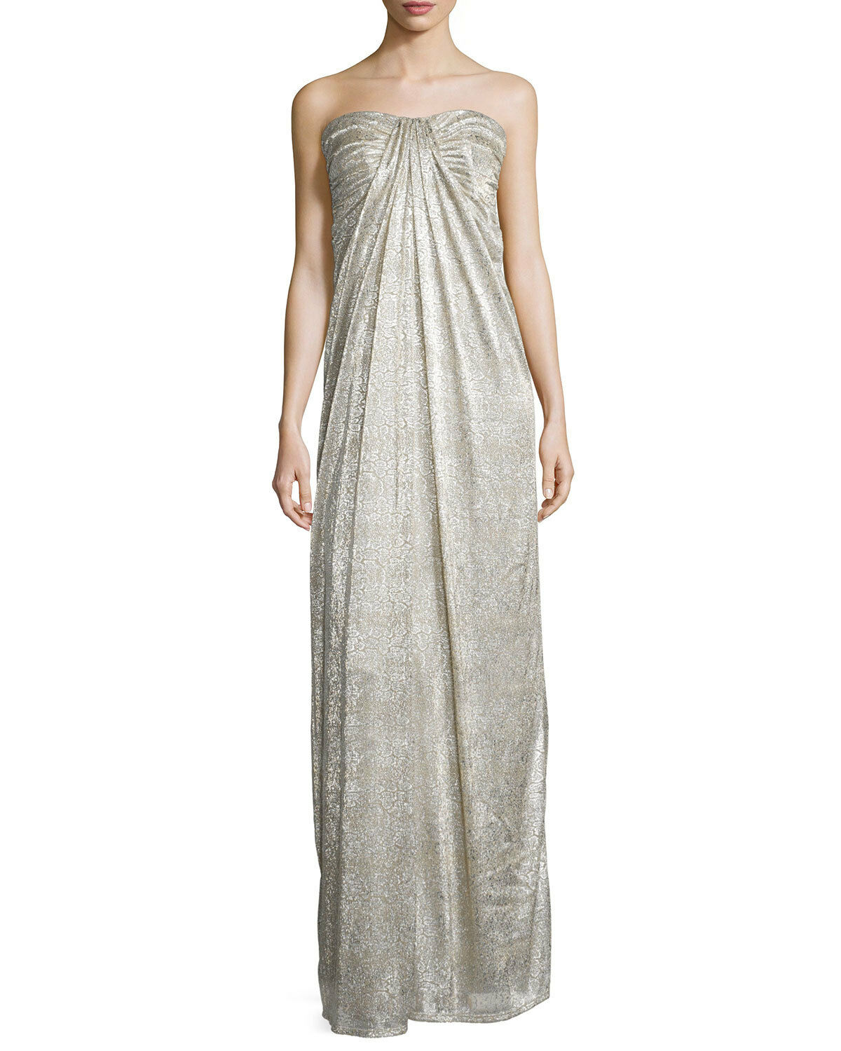 NEW LAUNDRY by SHELLI SEGAL Metallic Jacquard Strapless GOWN SIZE 6  325 NUDE