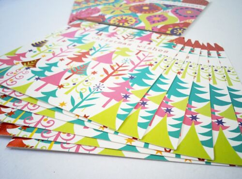 24 Pack x Colourful Modern Christmas Cards Square 12 x 12cm