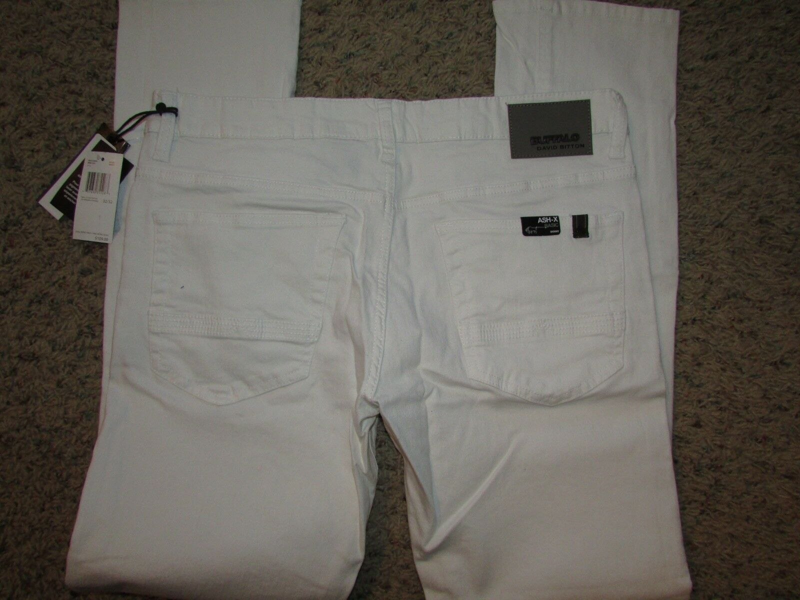 NEW BUFFALO ASH-X WHITE SKINNY JEANS MENS 32X32 COTTON BLEND