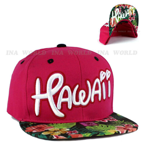 Pink HAWAII Hawaiian hat Snapback Tropical Flower Flat bill Cotton Baseball cap