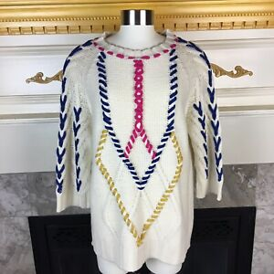 New-PEPALOVES-Anthropologie-L-Ivory-Colorful-Threaded-3-4-Sleeve-Knit-Sweater