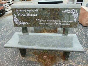 Groovy Details About Cemetery Bench Butterfly Blue Granite Memorial Bench Back Engraving Available Ibusinesslaw Wood Chair Design Ideas Ibusinesslaworg
