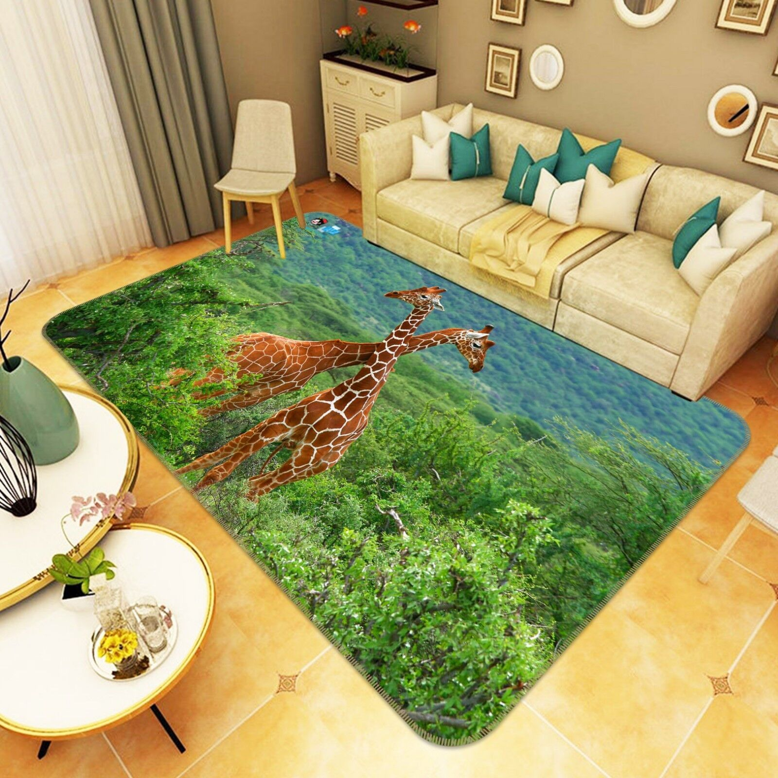 3D Giraffe 204 tappetino antiscivolo tappeto camera Tappetino Qualità Elegante foto Tappeto UK Estate