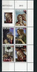 Aruba 2015 MNH Sandro Botticelli 5v Block Set Art Birth of Venus Madonna