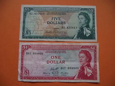 2 Banknoten: 5 Dollars&1 Dollar Nd east Caribbean Ostkaribisch Staaten 1965