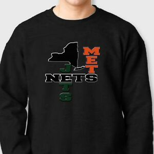 sale retailer 73aae 90637 Details about NETS METS JETS Brooklyn jersey T-shirt New York New Jersey  Crew Neck Sweatshirt