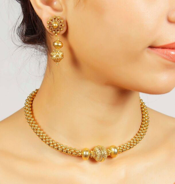 2063 Bollywood Indian Gold Plated Ethnic Bridal Polki Necklace Earrings Jewelry
