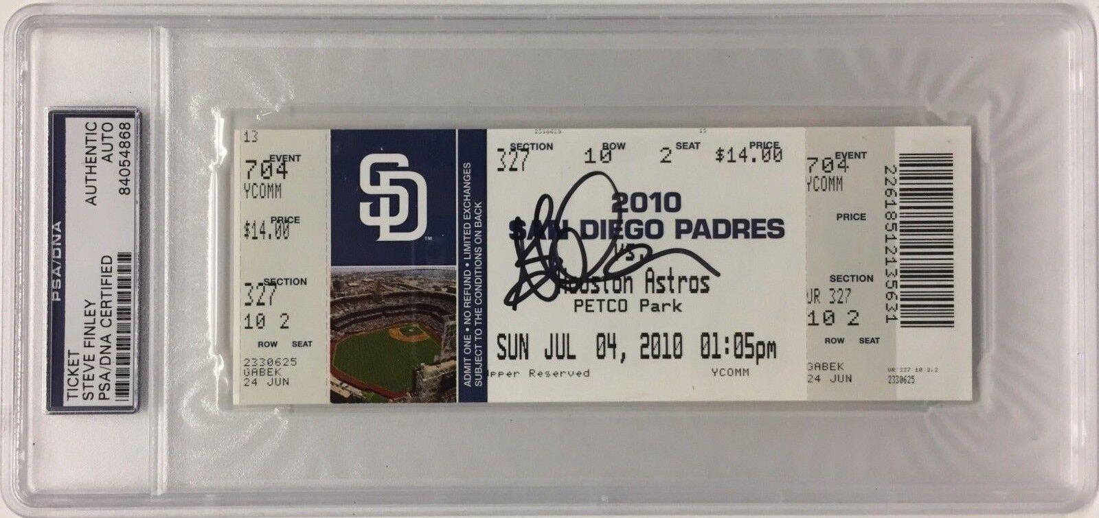 Steve Finley Signed Baseball Ticket July 04, 2010 PSA 84054868