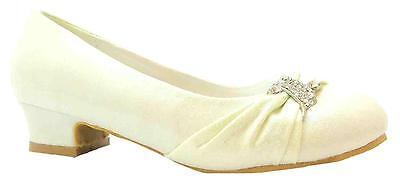 Arco Iris Anastasia Girl's satén color marfil de talón bajo Dama Boda Zapatos Nuevos