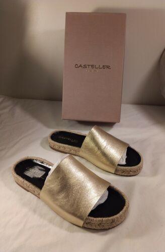Casteller Womens Rope Gold Leather Slides Flat Sz
