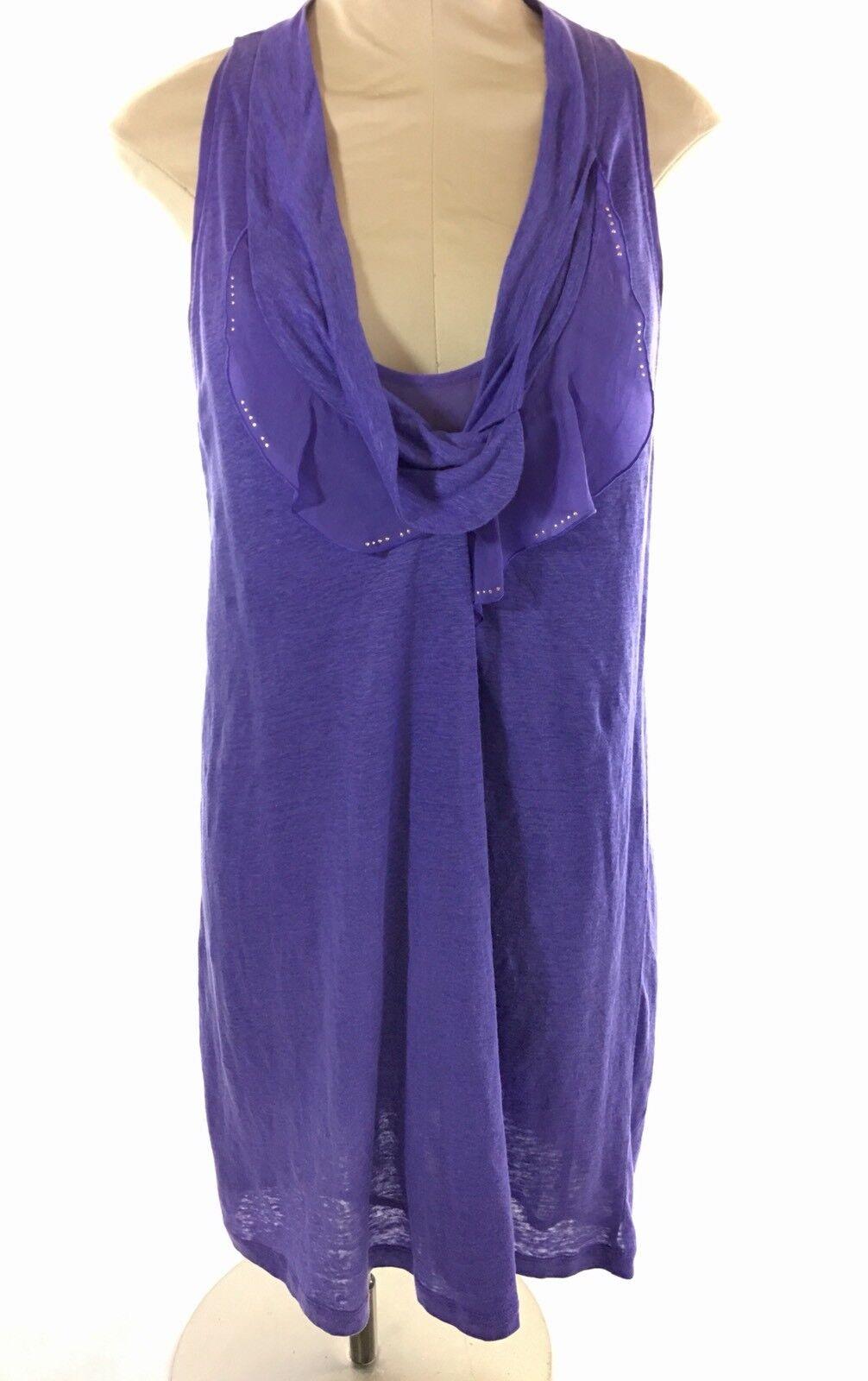 Vanessa Bruno damen Tunic Dress Sz 3 M lila Linen Silk Slip Ruffle
