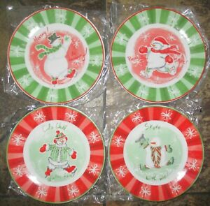 NIB-2003-Avon-Snow-family-collection-snowman-4-dessert-plates-Christmas-holiday