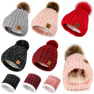 Women-Winter-Beanie-Hat-Scarf-Hats-Ladies-Knitted-Pom-Pom-Worm-Fleece-Lining