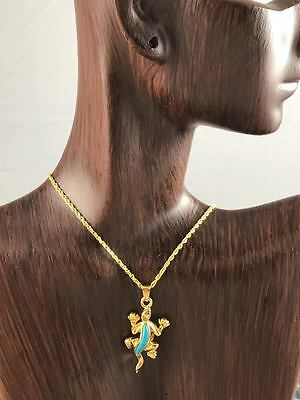 Cremation Gold Plated Lizzard Turquoise Stone Urn Jewelry  WITH CHAIN 509