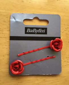Babyliss Pair Of Red Rose Hair Clips