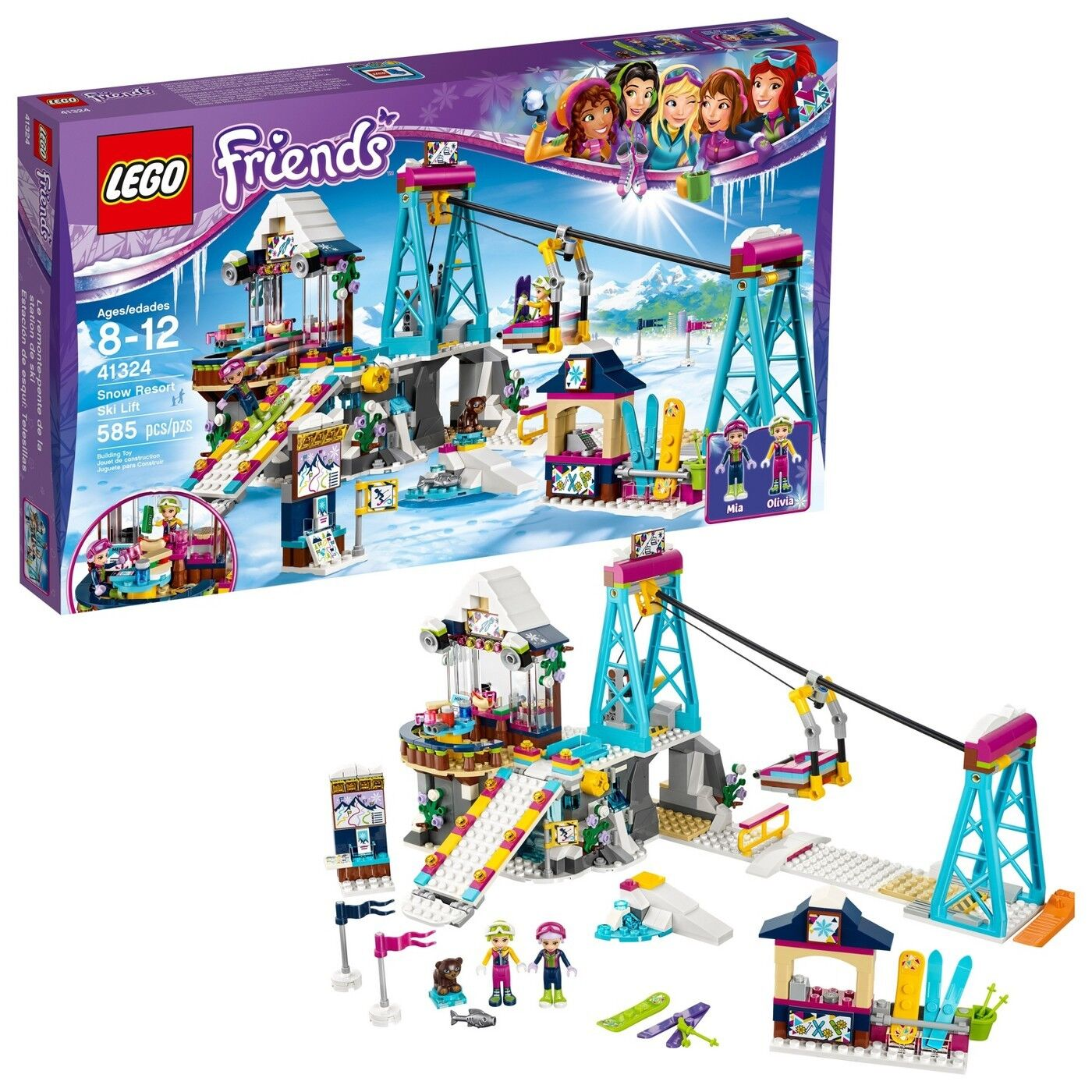 LEGO 41324 Friends Heartlake Snow Resort Ski Lift 585 Pieces Pieces Pieces New In Sealed Box  fefd9c