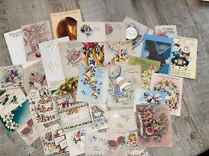 Vintage-Wedding-Card-Lot-1940-s-And-Up-36-Cards-Ephemera-Lot-D