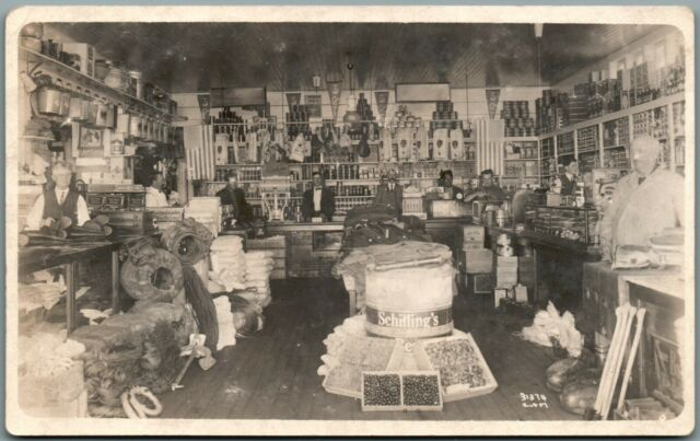 General Store Interior Grocery Schilling's Display Real Photo Vintage Postcard