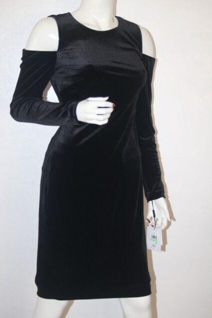 d9c5ff690a3 NWT Calvin Klein Black Women s Velvet Cold Shoulder Sheath Dress Size 8