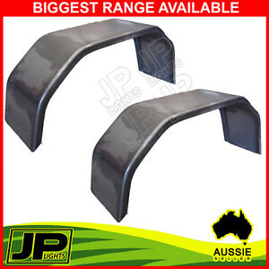 TRAILER-STEEL-MUDGUARD-SMOOTH-PAIR-4-FOLD-9-034-WIDE-SUIT-13-034-14-034-WHEEL-GUARD-BOAT