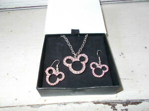 Disney-Minnie-Mouse-necklace-and-earring-set-good-condition