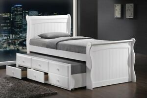 Image is loading White-Wooden-3-039-0-Single-Captain-Guest- & White Wooden 3u00270 Single Captain Guest Bed + Guest Trundle Bed + ...