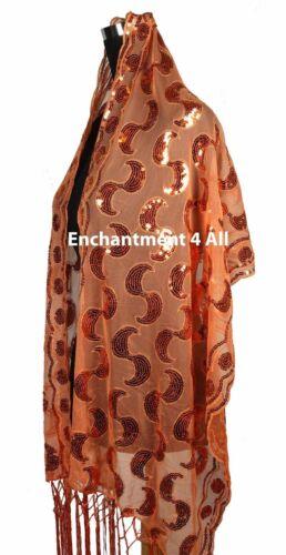 Elegant Lace Paisley Art Scarf Shawl Wrap w// Sequin /& Crochet Fringe Orange