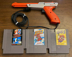 Vintage Super Mario Bros 1 2 3 Duck Hunt Zapper Gun Nintendo NES Video Game Lot