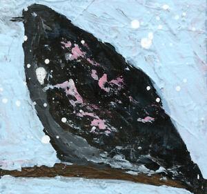 Blackbird Crow Bird Animal Art Painting Katie Jeanne Wood