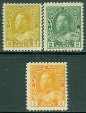 CANADA : 1911-25. Unitrade #105, 107, 110. All Fresh & VF, Mint OGLH. Cat $135.