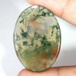 100-NATURAL-Green-amp-Red-Moss-Agate-Transparent-Oval-Cabochon-Loose-Gamstone