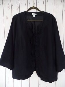 KIM-ROGERS-WOMAN-Blazer-2X-Black-Linen-Ruffle-Front-3-4-Sleeves-Lined-CHIC