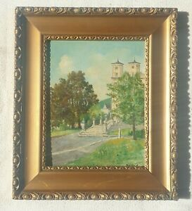 Julius-Bartek-1930-2004-original-signed-painting-Church-of-Assumption-VirginMary