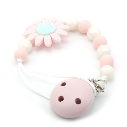Baby Silicone Wood Pacifier Clip Holder Beads Soother Chains Teether Chew Toy OO